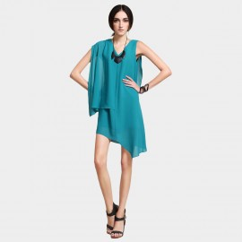 Vanilla Chocolate All About Asymmetry Blue Dress (V621016880)