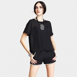 Vanilla Chocolate Comfort Fit Netted Black Tee (V622126543)