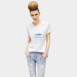Cocobella Quill and Slogan Print Blue Tee (TE258)