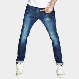 KUEGOU Washed Thigh Blue Jeans (FK-113)