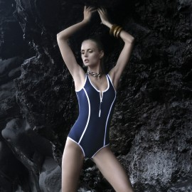 Balneaire Grooves Zipper Low Back Navy One Piece Swimming Suit (60457)