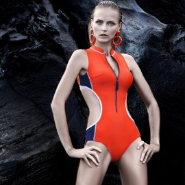 Balneaire Double Hollow Out Zipper Front Sporty Orange One Piece Swimming Suit (60472)