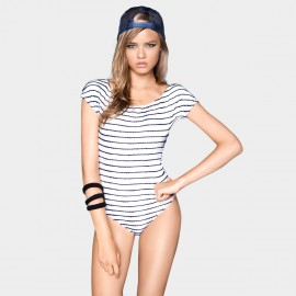 Balneaire Short Sleeve Hollow Back Ribbon Horizontal Strips White One Piece Swimming Suit (60545)