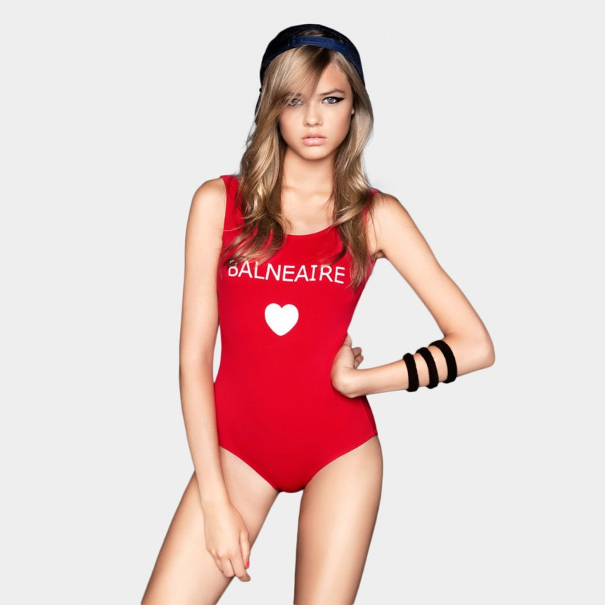 Balneaire Logo Low Back Red One Piece Swimming Suit (60551 ...
