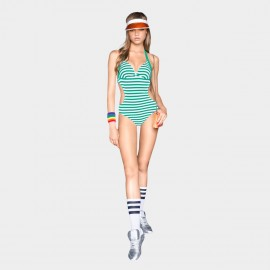 Balneaire Halter Neck Tied Knot Back Horizontal Strips Green One Piece Swimming Suit (60561)