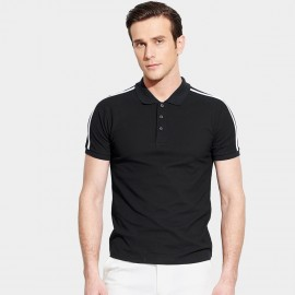 Basique Contrast Strips Slim Fit Black Polo (02.0012)