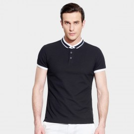 Basique Radial Contrast Stripes Slim Fit Black Polo (02.0013)