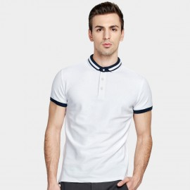 Basique Radial Contrast Strips Slim Fit White Polo (02.0013)