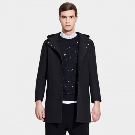 Basique Hooded Button Down Mid-Thigh Black Coat (28.0010)
