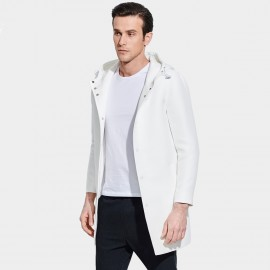 Basique Hooded Button Down Mid-Thigh White Coat (28.0010)