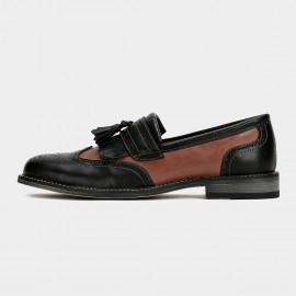 Herilios Hollow Out Contrast Tassel Leather Brown Loafers (H6105D01)
