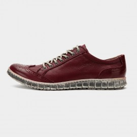 Herilios Striking Vintage Leather Red Sneakers (H6105D05)