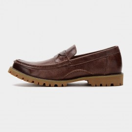 Herilios Cross Stitch Leather Penny Brown Loafers (H6105D11)