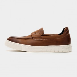 Herilios One Strap Pointed Toe Gradient Leather Brown Loafers (H6105D16)