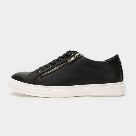 Herilios Metal Zipper Leather Black Sneakers (H6105D20)