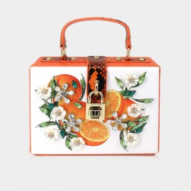 Top Beauty Floral Fruit Lock PU Orange Top Handle (AZ0001OR)