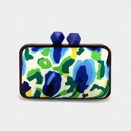 Top Beauty Abstract Camouflage Satin Blue Clutch (AZ0018)