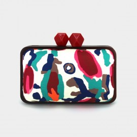 Top Beauty Abstract Camouflage Satin Red Clutch (AZ0018)