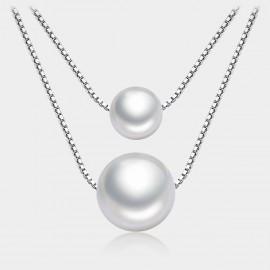 Caromay Mirrored Moon Silver Necklace (X0860)