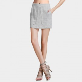 Vanilla Chocolate Full Front Slip Pocket Light Grey Skirt (V621056582)