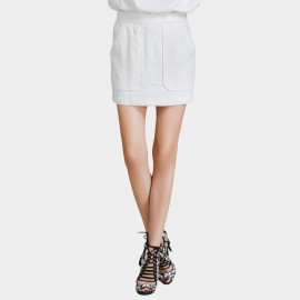 Vanilla Chocolate Full Front Slip Pocket Off White Skirt (V621056582)