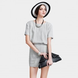 Vanilla Chocolate Perfect Inverted Style Light Grey Tee (V622126581)