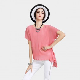 Vanilla Chocolate Multiple Layered Batwings Chiffon Watermelon Top (V622126836)