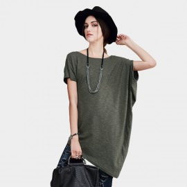 Vanilla Chocolate Loose Cut Short Sleeve Thigh Length Cotton One Size Green Tee (V622126900)