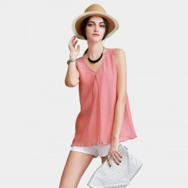 Vanilla Chocolate V Neck Gradient Chiffon Tank Watermelon Top (V622136839)