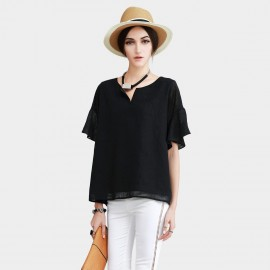 Vanilla Chocolate Chiffon Layers Small V Neck See Through Mid Sleeve Black Top (V622156945)