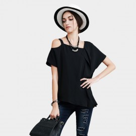 Vanilla Chocolate Asymmetrical Shoulder Loose Fit Black Top (V622156946)