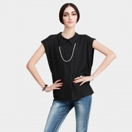 Vanilla Chocolate Collar Short Sleeve Light Chiffon Faux Button Down Black Top (V622156967)