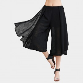 Vanilla Chocolate Black Chiffon Skirt Pants (V623396980)