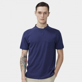 Beverry Collar-less Round Neck Blue Polo Shirt (16ABC0041)