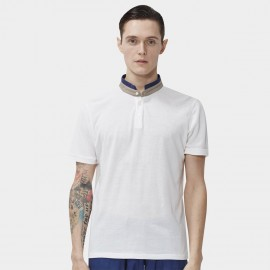 Beverry Double Contrast Collar White Polo Shirt (16ABC0042)