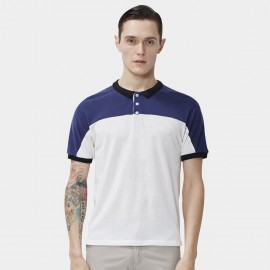 Beverry Contrast Shoulder White Polo Shirt (16ABC0055)