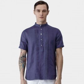 Beverry Folded Strips Round Neck Contrasting Button Purple Shirt (16ADC0024)