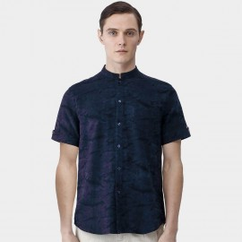 Beverry Grand Suede Texture Round Neck Button Down Navy Shirt (16ADC0029)