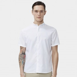 Beverry Basic Minimalistic Hidden Button Rolled Sleeve Short Sleeve White Shirt (16ADC0050)
