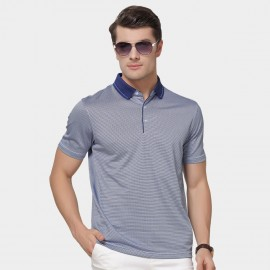 Beverry Contrast Patchwork Collar Strip Blue Polo Shirt (15ABX17501)