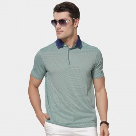 Beverry Contrast Patchwork Collar Strip Green Polo Shirt (15ABX17501)