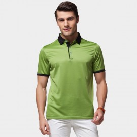 Beverry Vivid Palette Contrast Strip Polo Green Shirt (15ABX17525)