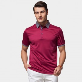 Beverry Vivid Palette Contrast Strip Polo Wine Shirt (15ABX17525)