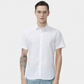 Beverry Simple Round Hem Button Down Short Sleeve White Shirt (16ADC0057)