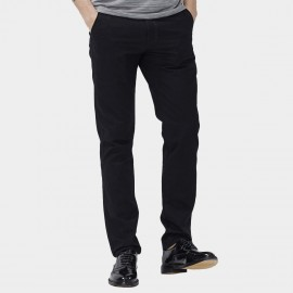 Beverry Regular Fit Smooth Long Plain Black Pants (16CAC0068)
