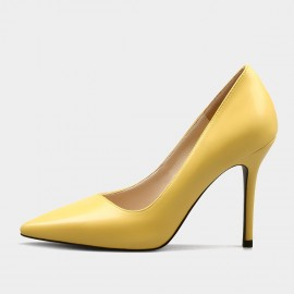 Weekend Bird Basic Elegance Leather Yellow Pumps (631ZG0208)