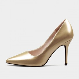 Weekend Bird Scarce Beauty Leather Gold Pumps (631ZG0210)