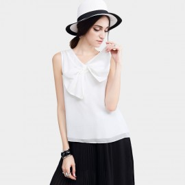 Vanilla Chocolate Self Tie Ribbon Neck Off White Top (V622137371)