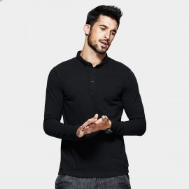 Kuegou Plain Black Polo Shirt (MT-1514)