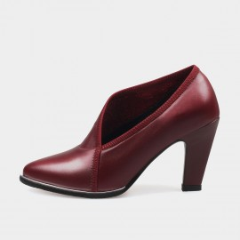Jady Rose Falling Topstitching Leather Wine Pumps (16DR10071)